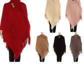 Womens Luxurious Large Thick Solid Color Pashmina Wrap With Button