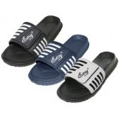 Men's Velcro Upper With Stripe Slide Sandal