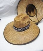 STRAW PESCADOR HAT WITH BROWN BANDANNA