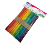 "50pc 6"" Wooden Craft Sticks [Rainbow Colored]"