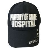 Property Of State Hospital Baseball Cap Black Color