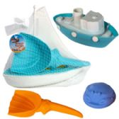 Boat Playset 3pc W/beach Tools 2asst Tug Or Sail Mesh Bag W/ht