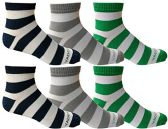6 Pairs of Mens Short Crew Socks, Lightweight Striped Sports Sock (Wide Stripes)
