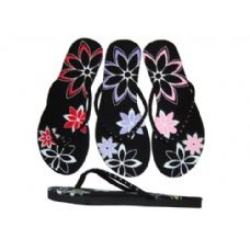 Ladies' Rhinestone Flower Thong