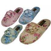 Ladies' Satin Floral Slippers Colors: Blue, Pink, Green