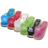 Women's Silk Flower Top Slide Flip Flops