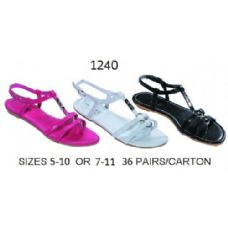 Ladies Sandal With Metal Decal