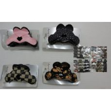 """3.5"""" Cloth Covered Claw Clip-Assorted--Heart"""