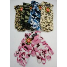 Ladies Camo & Animal Print Fleece Gloves
