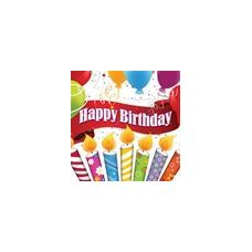 Happy Birthday Candles With Balloons Beverage Napkins - 16ct.