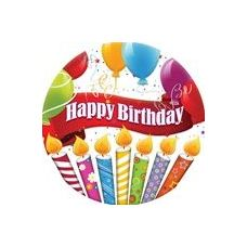 "Happy Birthday Candles with Balloons 9"" Plate - 8CT."