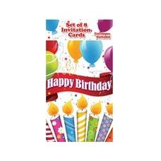 Happy Birthday Candles with Balloons Invitations - 8CT.