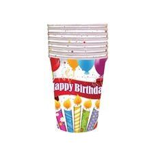 Happy Birthday Candles With Balloons Cups - 8 Ct.