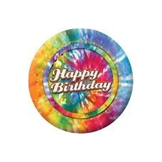 "Happy Birthday Tie Dye 9"" Plate - 8CT."