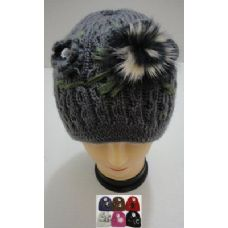 Hand Knitted Fashion Hat--1 Flower & Fur