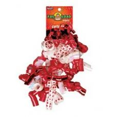 Curled Ribbon Bow - Red Hearts, Pegable Single