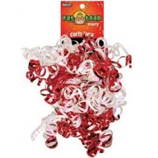Curled Ribbon Bow - Red / White, Pegable Single