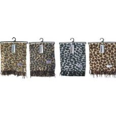 Ladies Leopard Print Woven Cashmere Feel Scarf #21017
