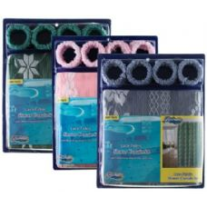 Item# 1006 Lace Fabric Shower Curtain, Liner & Hook Set
