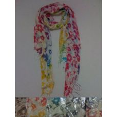 Scarf with Fringe--Rainbow Floral