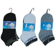 3 Pair Solid Ankle Sock For Kids Size 6-8 (usa Flag Print)