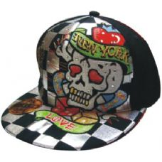 Flat Fitted Baseball Cap With Skull Design