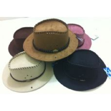 Suede Cowboy Hat with Leather-Like Hat Band
