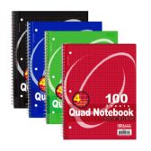 """100 Ct. Quad-Ruled 4-1"""" Spiral Notebook"""