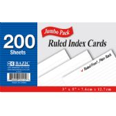 """200 Ct. 3"""" X 5"""" Ruled White Index Card"""