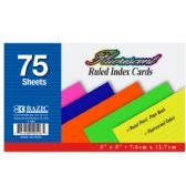 """75 Ct. 3"""" X 5"""" Ruled Fluorescent Colored Index Card"""