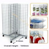 4 SIDED MOBILE GRIDWALL RACK W1260 X D610 X H1650