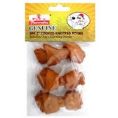 3 PACK 3 INCH KNOTTED BONES SMOKED 40-50 GRAMS PER PACK