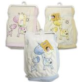 BABY BLANKET WITH GIRAFFE DESIGN PINK, BLUE & YELLOW - 30in X 40in