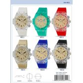 49MM Milano Expressions Clear Case Silicon Band Watch - 48515-ASST