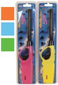 BBQ LIGHTERS 10 INCH ASSORTED COLORS: LIGHT BLUE ORANGE PINK LT GREEN AND YELLOW