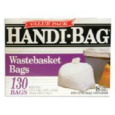 HANDI BAG WASTEBASKET TRASH BAGS 130 COUNT 8 GALLON WHITE