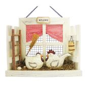 HANGING WALL WELCOME DECO HEN AND ROOSTER SCENE 11.5 X9.5 TALL