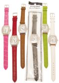 LADIES WATCH OBLONG DIAMOND ENCRUSTED LEATHERETTE STLYE B ASST COLORS