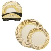 CROWN DINNERWARE PLATE SET 40 PC- 20 EACH 7 + 10 INCH DISTINTIVE COLLECTION GOLD