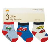 BOY'S INFANT SOCKS 3 PAIR ASSORTED COLORS AND DESIGNS SIZE 0-6 MONTHS