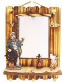 HANGING WALL MIRROR DECO. 18 X14 INCH WITH HOOKS WOODEN PIRATE/SEAGULL THEMED