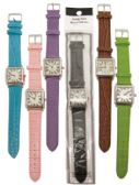 UNISEX WATCH SQUARE LEATHERETTE ASSORTED COLORS