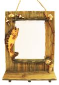 HANGING WALL MIRROR W/ FISH DECO 19.5 X 13.5 INCH WITH HOOKS WOODEN