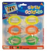 SWIM GOOGLES 3PK ASTD ADULTS ONLY