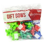 GIFT BOWS 25 COUNT MEDIUM ASSORTED COLORS PEEL N STICK MADE IN USA