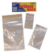 RESEALABLE STORAGE BAGS 50 COUNT ZIPLOCK ASSORTED SIZES CLEAR