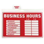 PLASTIC SIGN BUSINESS HOURS 12 X 9 INCHES