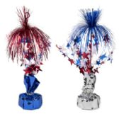 Balloon Weight/tinsel Centrpiece Patriotic 12in 2ast Blue/silver