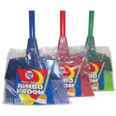 HEAVY DUTY BROOM 11 INCH WITH 43 INCH HANDLE JUMBO ASSORTED COLORS