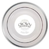 CROWN DINNERWARE DESSERT PLATE 7 INCH 10 PK EXECUTIVE COLLECTION WHITE/SILVER